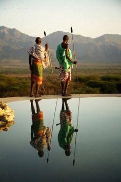 Two Masai Tribesmen - Kenya, Africa