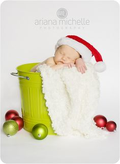 Ariana Michelle Photography - Christmas newborn @Larissa Miller this looks like the bucket I got for her!
