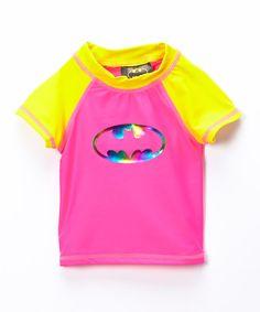 Look at this Pink Batgirl Short-Sleeve Rashguard - Infant, Toddler