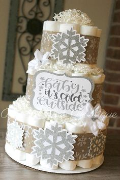3 Tier Baby It's Cold Outside Snowflake Diaper Cake Baby Shower Themes, Shower Ideas, Baby Shower Gifts, Diaper Cake Boy, Diaper Cakes, Baby Shower Winter, Baby Winter, Cut Paper, Paper Art