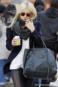 black blazer, scarf, bag