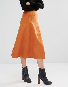 Warehouse | Warehouse Fit And Flare Knitted Skirt