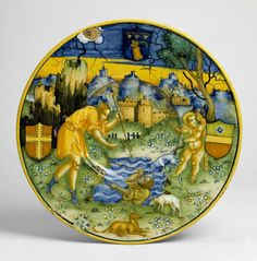 Plate depicting Narcissus at the fountain (Ovid, Metamorphoses, III), painted in Faenza by Baldassarre Manara, dated 1534, tin-glazed earthenware