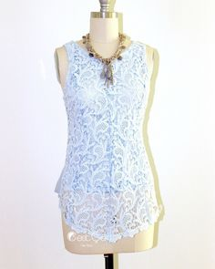 New to CestCaNY on Etsy: Linda - Serenity Blue Lace Top High-Low Peplum Blouse Guipure Lace Shirt Crochet Lace Top Sleeveless Shell top Vintage Inspired (29.99 USD)