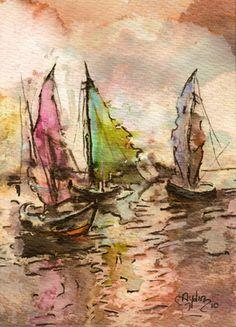 "Saatchi Online Artist Aydin Baykara; Painting, ""Sailboats"" #art  love the scene and the colors"