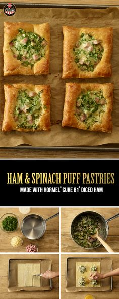 Puff pastries, alfredo and HORMEL® CURE 81® Diced Ham come together in this easy Easter appetizer! | Easter Brunch | Easter Ham | Entertaining | Hosting Tip