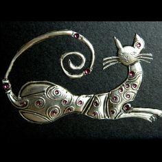 Metal Art Sculpture Framed Art Cat Pewter Sculpture by Loutul, £12.00