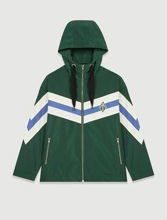 Baneli Striped Windbreaker by Maje, $445 Windbreaker Jacket, Hooded Jacket, Clothes Encounters, Straight Jacket, Maje, Green Jacket, Jackets Online, Printed Blouse, Adidas Jacket