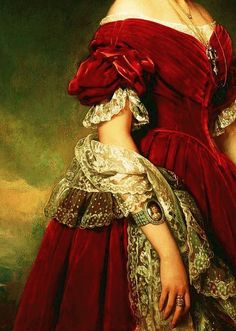 Portrait of Louises von Orléans (detail) by Franz Xaver Winterhalter, 1841 Franz Xaver Winterhalter, Historical Costume, Historical Clothing, Victorian Fashion, Vintage Fashion, Victorian Lace, Baroque Fashion, Classical Art, Fashion History
