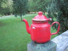 Vintage Red Enamel Teapot--Enamelware Kettle--Metal--European Kitchenware--French Country Kitchen by AlloftheAbove on Etsy