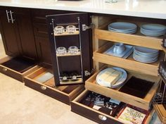Storage for Small Kitchens. Love  that they pull out, must have!
