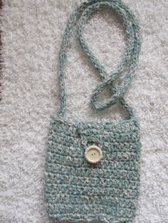 Aqua and cream crocheted cotton purse by SusanDeanne on Etsy