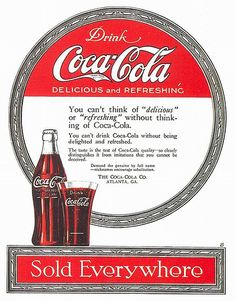 An poster sized print, approx (other products available) - COCA-COLA AD, <br>American magazine advretisement, - Image supplied by Granger Art on Demand - Poster printed in the USA Coca Cola Poster, Coca Cola Ad, Always Coca Cola, World Of Coca Cola, Poster Ads, Vintage Advertisements, Vintage Ads, Vintage Posters, Vintage Signs