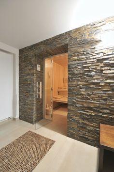 Bad Sauna Planen Anthrazit Graue Fliesen Tür Holzrahmen | Saunas ... Bad Sauna Planen Beachten