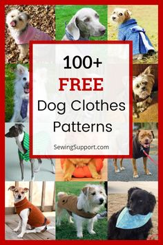 Over 100 Free Dog Clothes patterns, tutorials, and diy sewing projects. Simple and easy patterns for large and small dogs. Sew t-shirts, dresses, coats, booties, costumes, bandanas, and more. Instructions for how to make dog clothes. #sewingsupport #dogdiy #dogclothes #sewingpatterns #sewingprojects