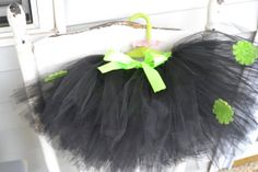 Child's black tutu with lime green accents by ShuhpuppyAndDeppy, $20.00