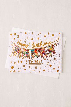 Shop Thimblepress Confetti Birthday Card at Urban Outfitters today. Happy Birthday Signs, Cute Birthday Cards, Homemade Birthday Cards, Bday Cards, Homemade Cards, Happy Birthday Cards Handmade, Art Birthday, Birthday Wishes, Watercolor Birthday Cards