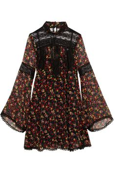Anna Sui - Lace-paneled Printed Silk-georgette Mini Dress - Black - US12