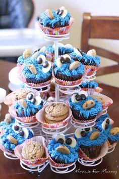 Blue Velvet Cookie Monster Cupcakes