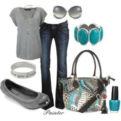 Bootcut jeans, gray t-shirt, gray flats, turquoise accents.