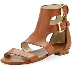 MICHAEL Michael Kors. Adriana Flat Sandal. Luggage leather upper. Open toe. Decorative double ankle straps. Back zip. Flat heel. Leather sole. Imported.