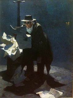 """This image from our permanent collection by Dean Cornwell titled """"Old Ben Alibi"""" (oil on canvas) is an illustration for a short… Norman Rockwell, Rockwell Kent, American Illustration, Art Et Illustration, Illustrations, Traditional Paintings, Traditional Art, Figure Painting, Painting & Drawing"""