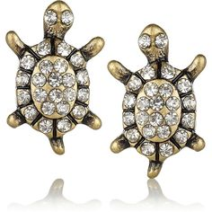 J.Crew Brass and crystal turtle stud earrings ($54) found on Polyvore