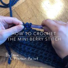 "How to Crochet the Mini Berry Stitch Quick How-To! 📝 The mini berry stitch is made up of three chains inside of a single crochet & adds cute ""mini berries"" t. Crochet Unique, Crochet Simple, Modern Crochet, Crochet Stitches Patterns, Knitting Stitches, Knitting Patterns, Sewing Patterns, Easy Knitting, Crochet Crafts"