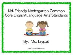 "Common Core ""I Can"" Statements Posters for Kindergarten {English/Language Arts} Kindergarten Reading Activities, Literacy Activities, Teaching Resources, Teaching Ideas, Core I, I Can Statements, English Language Arts, Early Literacy, Early Education"