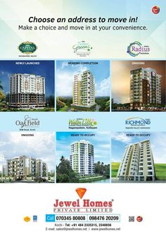 Jewel Homes, one of the master apartment builders with an impressive portfolio and over 20 years of excellence to its credit. We promise you an inspiring ambience, in most sought-after residential locations,in 3 and 2 bedroom versions with all the luxuries of an ultramodern living space. A new world, a new life, awaits you from Jewel Homes..!