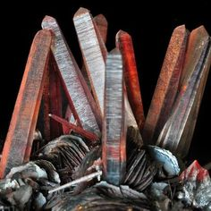 """""""Iron-stained Quartz crystals on Hematite Albert Russ photo of iron-stained quartz crystals (to 7 cm tall) on hematite from Jinlong Iron Mine, Longchuan, China"""" Minerals And Gemstones, Rocks And Minerals, Raw Gemstones, Crystal Magic, Beautiful Rocks, Mineral Stone, Stones And Crystals, Gem Stones, Rocks And Gems"""