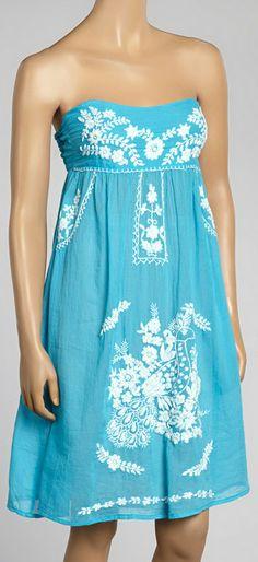 Blue Cancun Strapless Dress