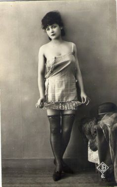 Rolled Stockings with a Flower on Top 1920s Biederer postcard