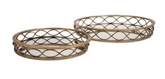 Elegant ellipses: A pair of mirrored metal trays in two sizes are ringed with classic, contiguous oval shapes and finished in antique gold. Product Description