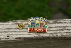 Wal-Mart Hometown Friendly Houses Sun Metal & Enamel Employee Lapel Pin…