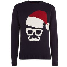 Navy Santa Glasses Christmas Jumper ($9.99) ❤ liked on Polyvore featuring men's fashion, men's clothing and men's sweaters