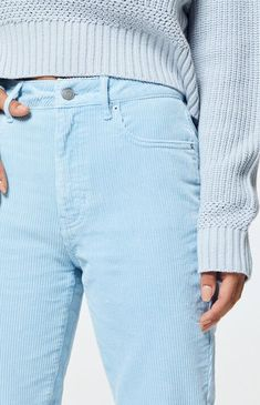 The Powder Blue Corduroy Mom Jeans from PacSun fulfill all your retro-inspired looks. Constructed from a corduroy fabric, these trendy mom jeans are complete with a body and a relaxed fit. Corduroy Jacket, Denim Fabric, High Jeans, Pants Outfit, Pretty Outfits, Pretty Clothes, Pacsun, Mom Jeans, Powder