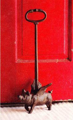 Pig door stopper.