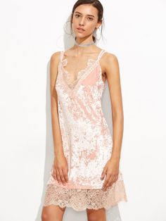 Pink Eyelash Lace Trim Velvet Strappy Cami Dress -SheIn(Sheinside) Mobile Site