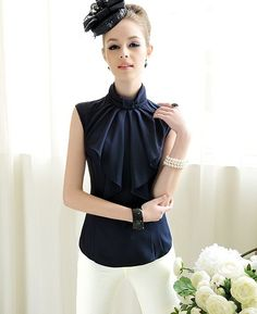 Morpheus Boutique  - Navy Blue Lovely Designer Lady Sleeveless Bow Ruffle Collar Shirt