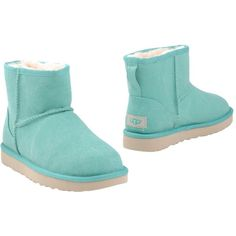 Ugg Australia Ankle Boots (390 PEN) ❤ liked on Polyvore featuring shoes, boots, ankle booties, light green, rounded toe boots, flat boots, rubber sole booties, ugg booties and ankle boots