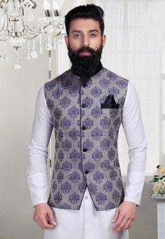 Woven Brocade Nehru Jacket in Grey Wedding Dress Men, Wedding Outfits, Indian Men Fashion, Men's Fashion, Ethnic Wear For Boys, Prince Suit, Modi Jacket, Achkan, Kurta Style