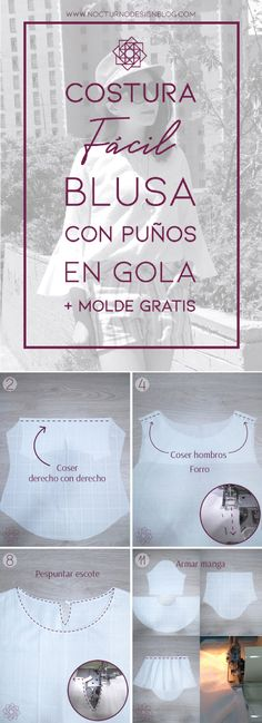 Blusa con puños en gola + molde gratis – Nocturno Design Blog Design Blog, Diy And Crafts, Personalized Items, Free, Couture, Ideas, Big Sizes, Outfits, Amor