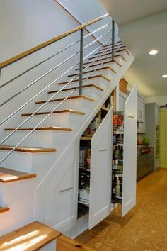 Closet Space Under Stairs Design Ideas, Pictures, Remodel, and Decor Basement Remodeling, Pantry Design, Stairs Design, Stairs, Space Saving Kitchen, Staircase Storage, House Stairs, Design Your Home, Stair Decor