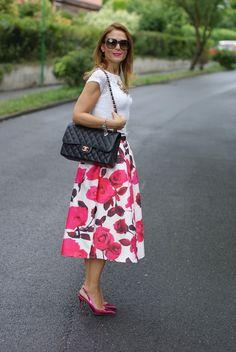 rose print skirt and Chanel bag