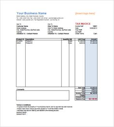 Computer Sales Service Invoice Template Bills Invoices And - Tax invoice template word
