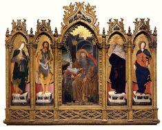 Francesco Squarcione, maestro de Mantegna.  Más importante en el aspecto intelectual que por el estilo.  Poliptico de Lazzara, c.  1449 a 1452 Museo Cívico de Padua.