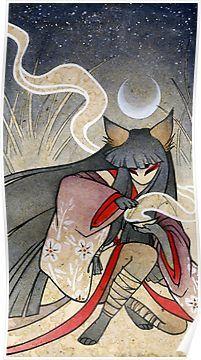 'Fox Spell-Kitsune Yokai Japanese' Poster by TeaKitsune - illustrations Art And Illustration, Fuchs Illustration, Watercolor Illustration, Japanese Mythical Creatures, Fantasy Creatures, Japanese Poster, Japanese Art, Japanese Yokai, Japanese Makeup