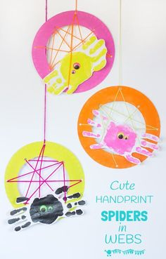 Handprint Spiders In Webs are easy & frugal to make and a super way to build fine motor threading skills. A fun spider craft and handprint craft for Halloween & all year round.