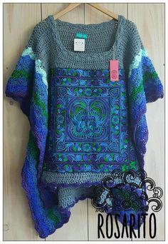 Poncho a crochet freeform Crochet Blouse, Crochet Bikini, Knit Crochet, Freeform Crochet, Crochet Shawl, Shrug Knitting Pattern, Formal Wear Women, Altered Couture, Crochet Woman